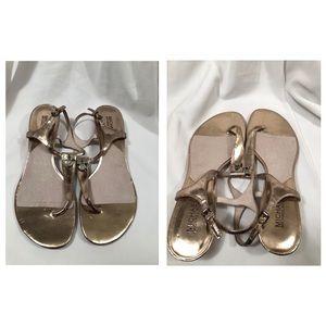 Michael Kors Shoes - Used Michael Kors Hamilton Metallic Thong Sandals